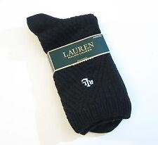 Ralph Lauren Ladies Socks Angora Wool Blend Diagonal Waffle Solid Black - NEW