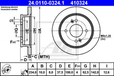2x Bremsscheibe für Bremsanlage Hinterachse ATE 24.0110-0324.1