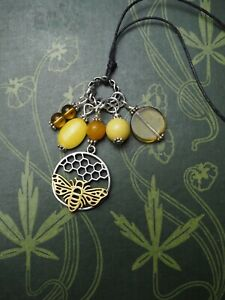 Bee & Honeycomb Charm Pendant with gemstones - Pagan, Witchcraft, Melissae,