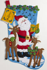 "Bucilla Caroling Santa ~ 18"" Felt Christmas Stocking Kit #86661 Reindeer, Music"