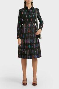 NWT $1799 Altuzarra Sirocco Feather Pleated Midi Skirt   IT36