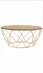 Allure Coffee Table with Rose Gold Base, Tempered Glass, Rose Gold
