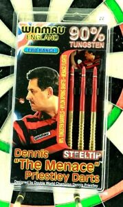 "Winmau Dennis ""The Menace"" Priestly 22g 90% Tungsten Steel Tip Darts"