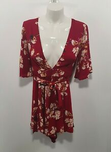 Reverse Floral Womens Red Playsuit Sz S