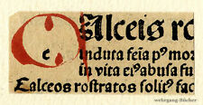 """Inkunabel -/Alter Druck-Fragment, gemalte Initiale """"A"""" um 1500"""