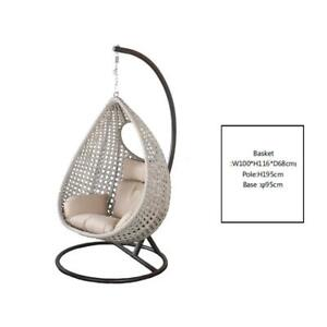Outdoor Rattan Egg Chair Swing Hanging Egg Chair Beige Cushion