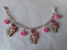 Bunny rabbit and flower fimo bead charm bracelet