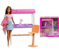 Barbie Poupée Etudiante Coffret Mobilier Accessoires Chambre et lit Mattel FXG52