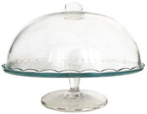 Tortenplatte Tortenständer Kuchenplatte mit Haube Glasplateau Ø29 cm