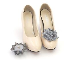 GENUINE LEATHER gray roses shoe clips | Pumps flowers, leather shoe decoration