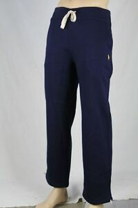 Polo Ralph Lauren Navy Blue Fleece Sweatpants Yellow Pony NWT