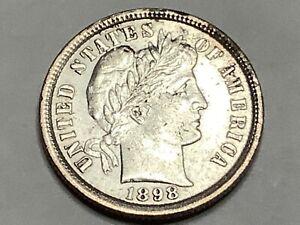 1898. Barber Dime 90% Silver 10% Copper  **Free Shipping **