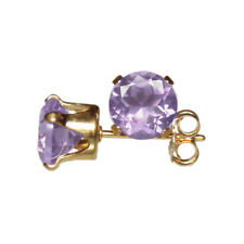 6mm ROUND FACETED GENUINE PINK AMETHYST 14k YELLOW GOLD FILLED STUD EARRINGS