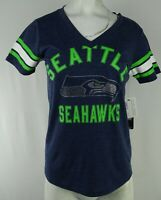 Seattle Seahawks NFL Team Apparel Women's Rhinestone V-Neck Shirt