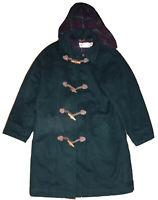 Vtg L.L. Bean Women's Wool Hooded Toggle / Zipper Hooded Duffle Coat Sz 18 USA