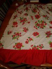 Vintage Prints Charming Christmas Apron Polka Dots on White Poinsettia/Bell