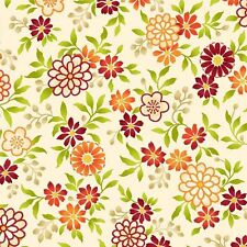 Salsa Orange packed Flowers 100% cotton fabric by the yard