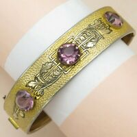 Vtg 1930's Victorian Revival Amethyst Glass Enamel Gold Plated Bangle Bracelet