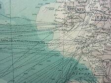 1921 mappa di grandi dimensioni ~ Oceano Atlantico settentrionale ~ STEAMER rotte isole britanniche AMERICA