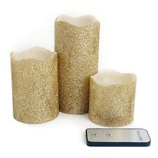 Set Of 3 Sparkle Gold Remote Controlled Flameless LED Candles With Glitter