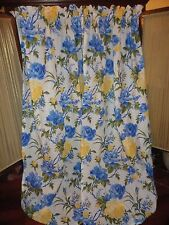BRYLANE HOME BLUE YELLOW WHITE BIG FLORAL (PAIR) DRAPERY PANELS CURTAINS 40 X 86