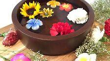 "Decorative Bowl Centerpiece. Large Serving Salad Wood Bowl. Dark Brown 12""x3.5"""