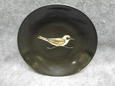 "Couroc Black Phenolic Inlaid Decorative Bowl w/ Bird Figure Brass & Wood 7.75"""