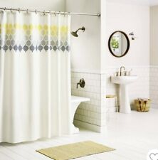 Threshold Ombre Medallion Shower Curtain Cream with Gold & Gray Embroidery New