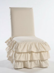 Cotton 3 tier ruffled dining chair slipcover
