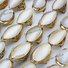 Wholesale lots 50ps Cat eye Gemstone Stone Gold Plated Wedding Rings FREE