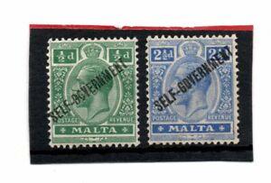 Malta  GV 1922 Self Government o/print 1/2d & 2.1/2d sg 106-07 HH.Mint