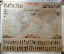 WORLD MAP LE PETIT JOURNAL 1900 by MENETRIER LARGE ORIGINAL CHROMOLITHOGRAPHY