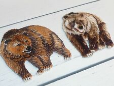 2 Bear patches Grizzly Bear mammals Brown Bear Bears Sport iron or sew on patch