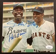 Hank Aaron Signed Photo Magazine Page Baseball Autograph with Willie Mays JSA