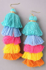 "PARKER SPARROW 4"" LONG AQUA MULTI SIX TIER YARN STACK TASSEL HOOK EARRINGS"