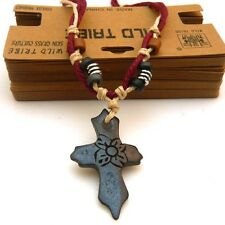Thick Hemp Beaded Cord Yak Bone Plum Blossom Flower Crucifix Cross Necklace