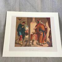 1860 Stampa The Pharisee E Publican Bibbia Story Religioso Art Cromolitografia