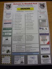 07/04/2001 Colour Teamsheet: Grimsby Town v Tranmere Rovers  (Folded, Notes Made