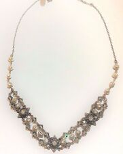 Liz Palacios Necklace Crystal Swarovski Brass Silver Antiqued Pearls Victorian