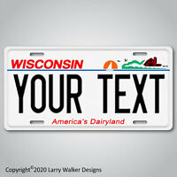 WISCONSIN Personalized YOUR TEXT  Custom Aluminum Vanity License Plate Tag NEW