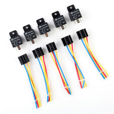 5 X Car Truck Auto DC 12V 40A 40 AMP SPST Relay Relays 4 Pin 4P & Socket 4 Wire