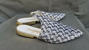 Chanel Tweed Lace Up Mules Cruise 2015 Flat Shoes Sz-37C 7US Made in Italy