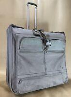 Used Tumi Alpha Long Wheeled Silver Rolling Garment Bag Luggage 22032S4 (#160)