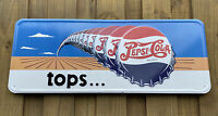 VINTAGE PEPSI COLA EMBOSSED SIGN SODA POP PORCELAIN OIL GAS STATION PETROLIANA