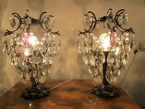 2 Piece Pair Antique Vnt French Cage Crystal Table Lamp Light Chandelier 1940s