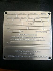 Blank Limited Run Ford Falcon XW GT HO  Style (Restoration) Build Plate
