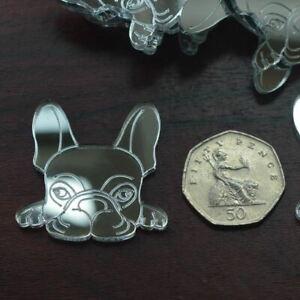 French Bulldog Cute Face Mini Craft Sized Acrylic Mirrors (10Pk)