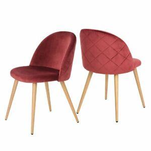 Set of 2 Velvet Dining Room Chair Metal Legs Furniture Chair
