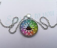 Keyring Meditation, Peace Jewellery Uk Fast Chakra Glass Pendant & Necklace or