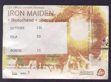 ORIGINAL CONCERT TICKET IRON MAIDEN + MOTORHEAD 2007 ROMA (?) BIGLIETTO CONCERTO